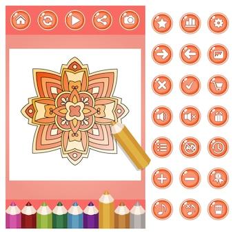 Colorir flor mandala para adultos e conjunto de lápis de cor