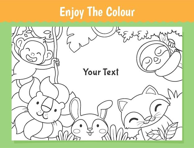 Colorir gato e foguete para crianças Vetor Premium