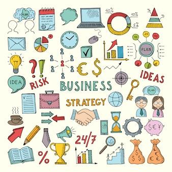 Colorir ilustrações de negócios na mão desenhada estilo