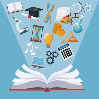 Colorir livro de fundo aberto com ícones de halo luzes conhecimento acadêmico
