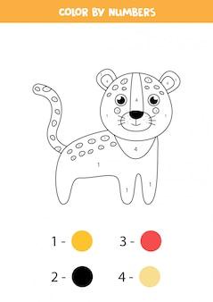 Colorir matemática para crianças. leopardo bonito dos desenhos animados.