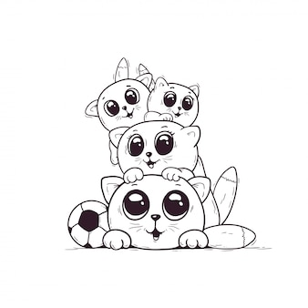 Colorir muitos gatinhos fofos