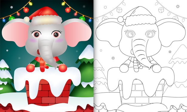 Colorir para crianças com um elefante fofo usando chapéu de papai noel e lenço na chaminé