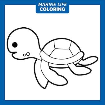Colorir personagens de desenhos animados bonitos da vida marinha, tartaruga