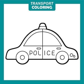 Colorir personagens de desenhos animados de veículos de transporte bonitos com carro de polícia
