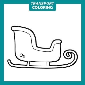 Colorir personagens de desenhos animados de veículos de transporte bonitos com trenó de natal