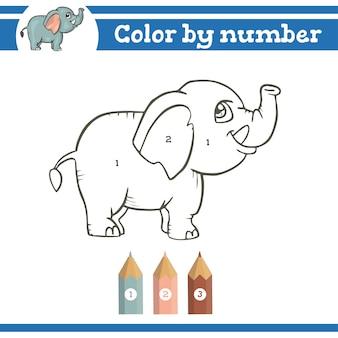 Colorir por números para colorir página para crianças pré-escolares aprender jogo educacional de números
