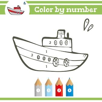 Colorir por números para colorir página para crianças pré-escolares aprender números para jardins de infância e escolas