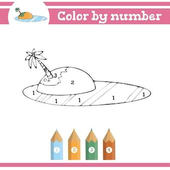Colorir por números para colorir página para crianças pré-escolares aprender números para jardins de infância e escolas Vetor Premium