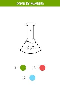 Colorir tubo de ensaio kawaii bonito por números. planilha para crianças.