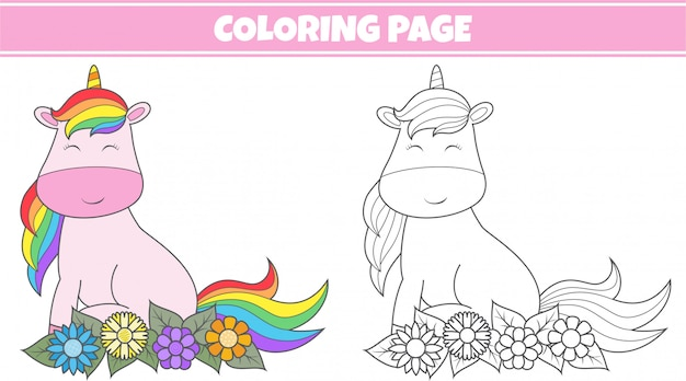 Colorir unicórnio fofo
