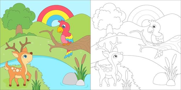 Colorir veado e papagaio