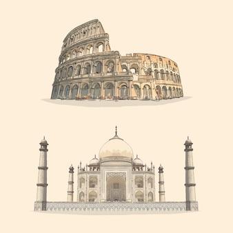 Colosseum e taj mahal ilustração desenhada à mão