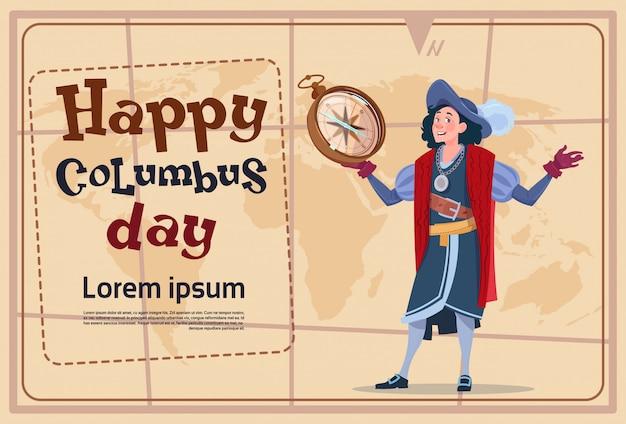Columbus day feliz descobre o poster do feriado cartão comemorativo