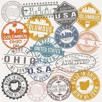 Columbus ohio conjunto de viagens e negócios stamp designs