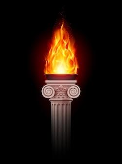 Coluna com fogo
