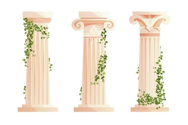 Coluna da grécia antiga com ramos de hera