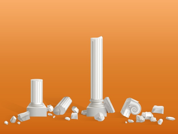 Colunas antigas de pedra de mármore branco quebradas em pedaços,