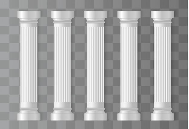 Colunas brancas antigas. romano, coluna grega, arquitetura
