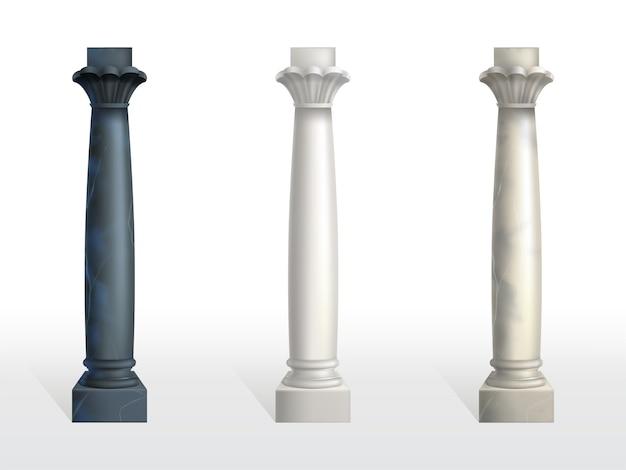 Colunas cilíndricas de pedra de mármore preto, branco e bege