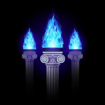 Colunas com fogo azul