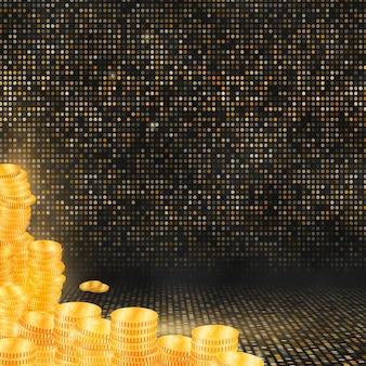 Colunas de moedas de ouro sobre fundo de mosaico de ouro