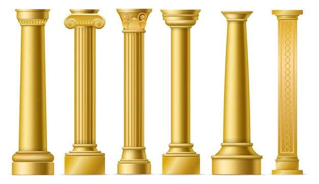 Colunas douradas. pilares de ouro antigos clássicos, coluna de pedra histórica romana, fachada de escultura de arquitetura histórica da grécia antiga, conjunto de elementos 3d isolados de vetor de colunata de mármore
