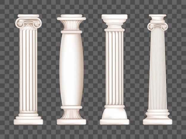 Colunas gregas de mármore brancas antigas