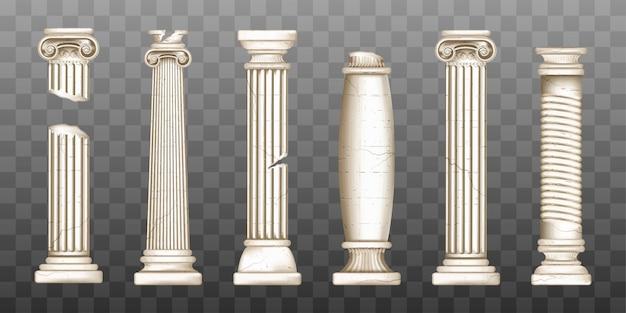 Colunas gregas quebradas antigas, pilares barrocos