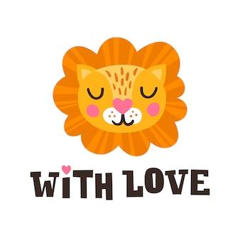 Com amor. cabeça de leão e citação de mão romântica desenhada. cartão postal para feliz dia dos namorados. personagem de rosto animal bonito para crianças.
