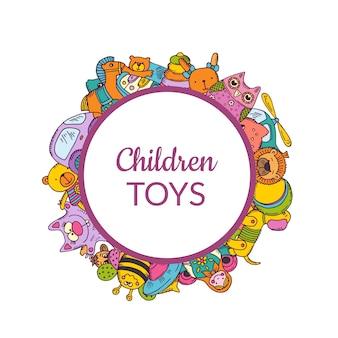 Com brinquedos esboçados sob círculo emoldurado com sombra e lugar para texto.