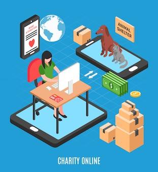 Com chamada para fazer doação para ilustração de abrigo de animais