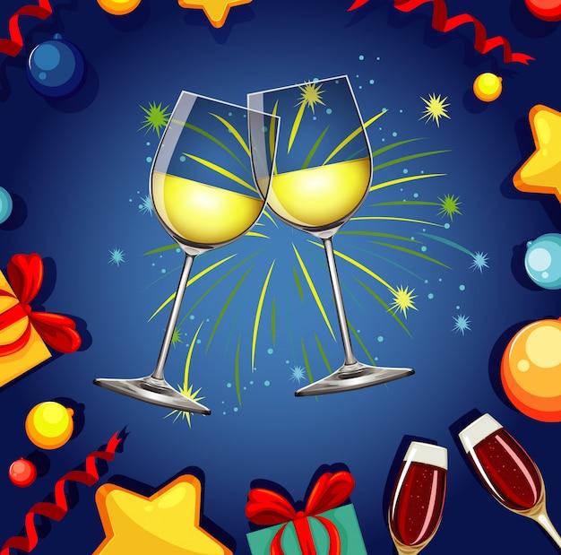 Com duas taças de champanhe e fogos de artifício
