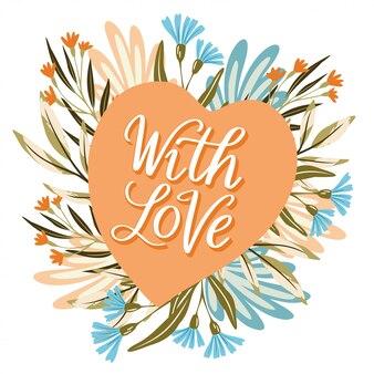 Com flor de coração de amor