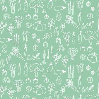 Com legumes de doodle mão desenhada.