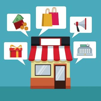 Com loja e caixa de diálogo com itens de compras on-line