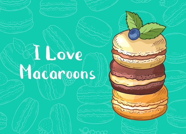 Com mão colorido desenhado macaroons doce e lugar para texto