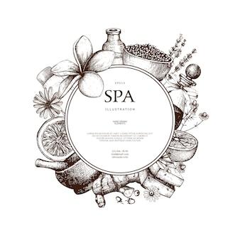 Com mão desenhada ilustração spa em branco. fundo de desenho de beleza com cosméticos naturais. modelo vintage com elementos exóticos e ervas.