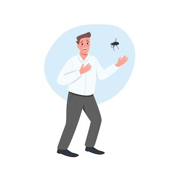 Com medo do personagem detalhado de cor lisa masculina aranha