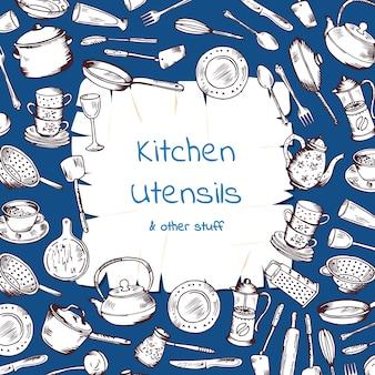 Com utensílios de cozinha reunidos em torno de papel de desenho animado com lugar para texto. cozinha e cozinhar garfo de desenhos animados e pan