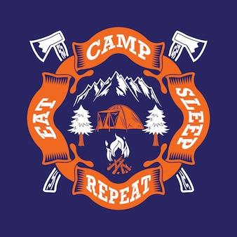 Coma a repetição do acampamento do sono. provérbios e cotações de acampamento