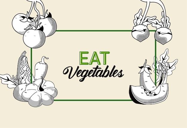 Coma legendas de vegetais com comida saudável em moldura retangular