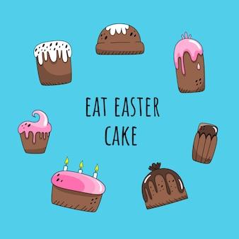 Coma o cartão do bolo de easter