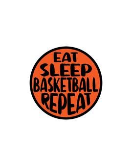 Coma repetição de basquete dormindo no pôster de tipografia desenhada