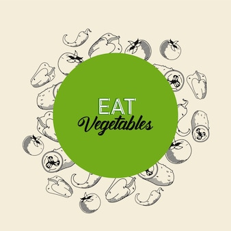 Coma vegetais rotulados com alimentos saudáveis em moldura circular