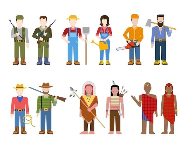 Comandante de oficial do exército militar, índio caubói fazendeiro construtor lenhador caçador brahmin pessoas em uniforme plana avatar usuário perfil ilustração conjunto. coleção de pessoas criativas.