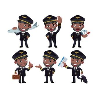 Comandante de tripulação com diferentes poses