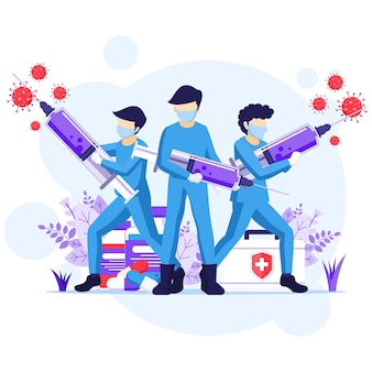 Combate o conceito de vírus, médico e enfermeiras usam seringa para combater a ilustração do coronavírus covid-19