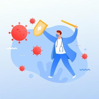 Combater o vírus médico profissional médico