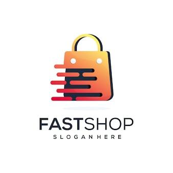 Combinação abstrata de shope com logotipo de velocidade